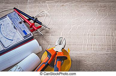 blauwdruken, tester, elektrisch, isolatie, cassette, nippers