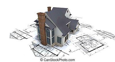 blauwdruken, woning, bovenzijde, 2, architect, woongebied