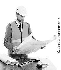 blauwdruken, zijn, bouwsector, professioneel, zakenman, mannelijke