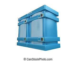 blauwe , 3d, servers, #2b