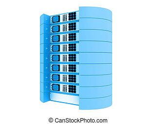 blauwe , 3d, servers