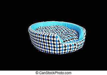 blauwe , aanhalen, vrijstaand, bed, zwarte achtergrond