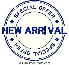 blauwe , aankomst, grunge, aanbod, postzegel, rubber, achtergrond, zeehondje, nieuw, witte , ronde, bijzondere