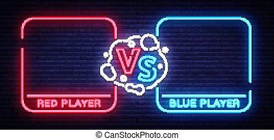 blauwe , aankondiging, futuristisch, vector, fighters., scherm, spel, neon, twee, competitie, leaves., tegen, krijgshaftig, sport., vs, ontwerp, illustratie, slag, spandoek, style., lucifer