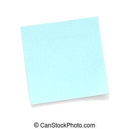 blauwe , aantekening, leeg, kleverig
