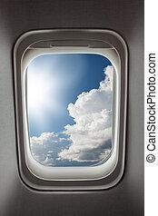blauwe , aanzicht, sky., vliegtuig venster