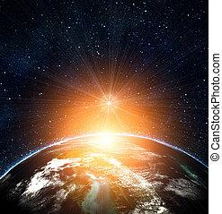 blauwe , aarde, in, ruimte, met, opkomende zon