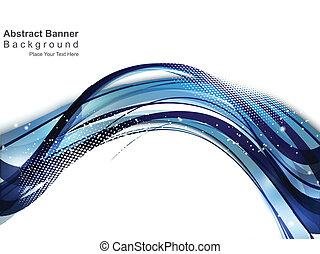 blauwe , abstract, achtergrond, golf
