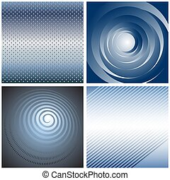 blauwe , abstract, achtergronden, set.
