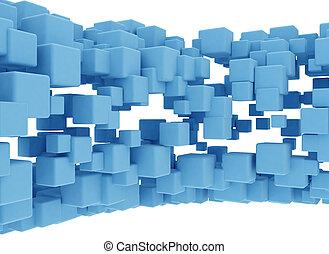 blauwe , abstract, blokje, achtergrond