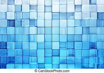 blauwe , abstract, blokjes, achtergrond