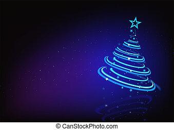 blauwe , abstract, boompje, kerstmis