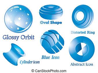 blauwe , abstract, glanzend, iconen