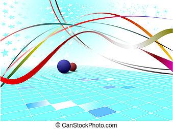 blauwe , abstract, illustratie, golf, stars., vector, achtergrond