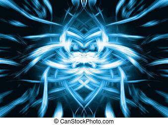 blauwe , abstract, leeuw, gezicht