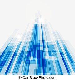 blauwe , abstract, lijnen, perspectief, achtergrond, recht