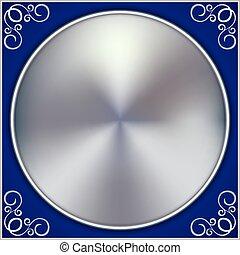 blauwe , abstract, ornament, vector, achtergrond, cirkel, zilver