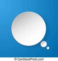 blauwe , abstract, papier, toespraak, achtergrond, bel