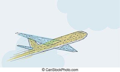 blauwe , abstract, vliegtuig, mal, gele