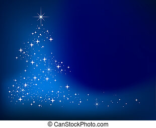 blauwe , abstract, winter, achtergrond, met, sterretjes, kerstboom