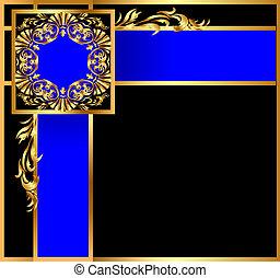 blauwe achtergrond, band, gold(en), hoekig