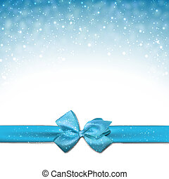 blauwe achtergrond, bow., cadeau, kerstmis