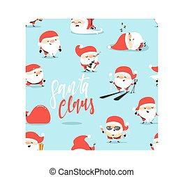 blauwe achtergrond, claus, seamless, model, kerstman, kerstmis