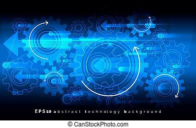 blauwe achtergrond, concept., techniek, vector, werktuigkundige, digitale , gears., tandwielen