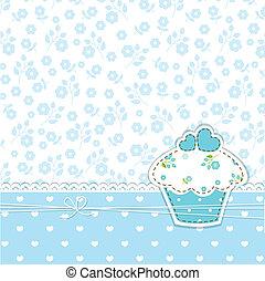 blauwe achtergrond, cupcake