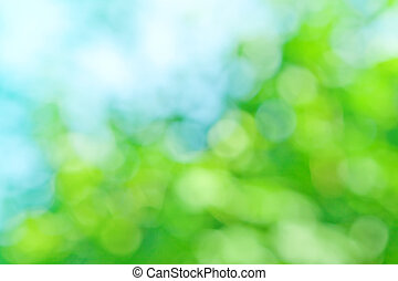 blauwe achtergrond, groene, kleuren, lente, vaag