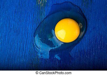 blauwe , achtergrond., houten, eitjes, bovenzijde, kapot, egg., overzicht., chicken