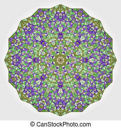 blauwe , achtergrond., kleurrijke, kleur, shapes., mandala., sering, ronde, vorm, vector, groene, cirkel, achtergrond, viooltje, geometrisch dundoek, abstract, mozaïek
