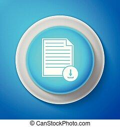 blauwe , achtergrond., knoop, vrijstaand, illustratie, symbool., lijn., vector, bestand, downloaden, witte , document, cirkel, pictogram