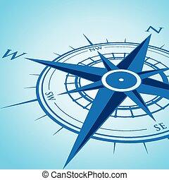 blauwe achtergrond, kompas