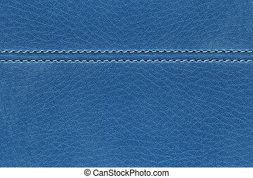blauwe , achtergrond., leder, oppervlakte, zak