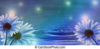 blauwe achtergrond, met, bloemen, en, water, golven
