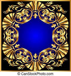 blauwe achtergrond, met, gold(en), ornament, op, cirkel