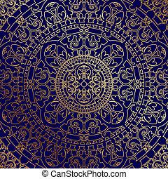 blauwe achtergrond, met, goud, ornament