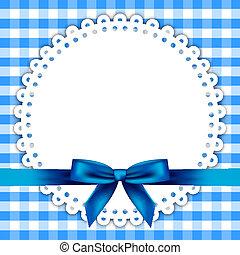 blauwe achtergrond, met, servet