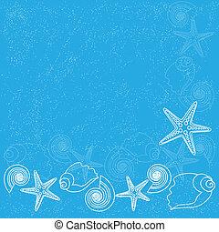 blauwe achtergrond, met, zee leven