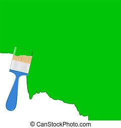 blauwe achtergrond, vector, groene, penseel