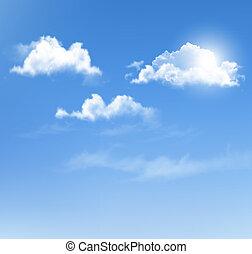 blauwe , achtergrond., vector, hemel, clouds.