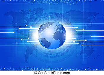 blauwe achtergrond, wereld handel