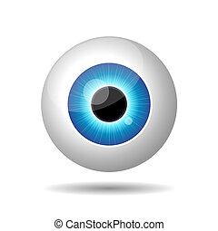 blauwe , achtergrond., witte , oog