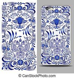 blauwe , adelaar, decor, keerzijde, verticaal, grijs, model, vrijstaand, telefoon, op, achtergrond., cover., smartphone., voorbeeld, rechthoekig, tweehoofdig, bovenkant, spotten, design.