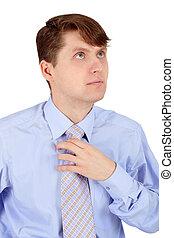 blauwe , adjusts, vrijstaand, vastknopen, witte , man