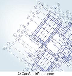 blauwe afdruk, architect