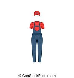 blauwe , aflevering, courier., dienst, overall., plat, uniform, t-shirt, vector, ontwerp, pet, worker., rode kleren
