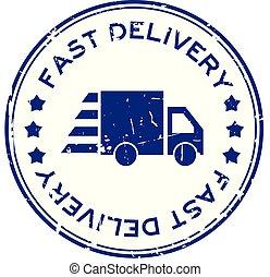blauwe , aflevering, grunge, postzegel, vasten, rubber, vrachtwagen, achtergrond, zeehondje, witte , ronde, pictogram