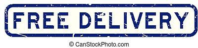 blauwe , aflevering, plein, grunge, postzegel, kosteloos, rubber, achtergrond, zeehondje, witte , bewoording